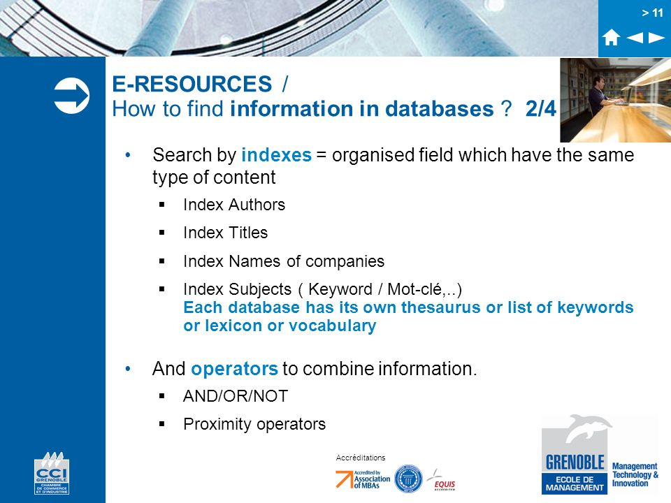 E-RESOURCES / How to find information in databases 2/4