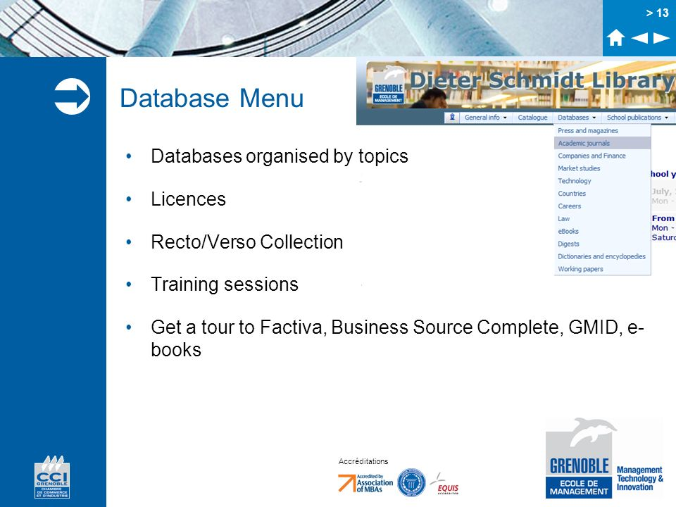 Database Menu Databases organised by topics Licences