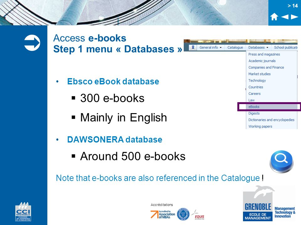 Access e-books Step 1 menu « Databases »