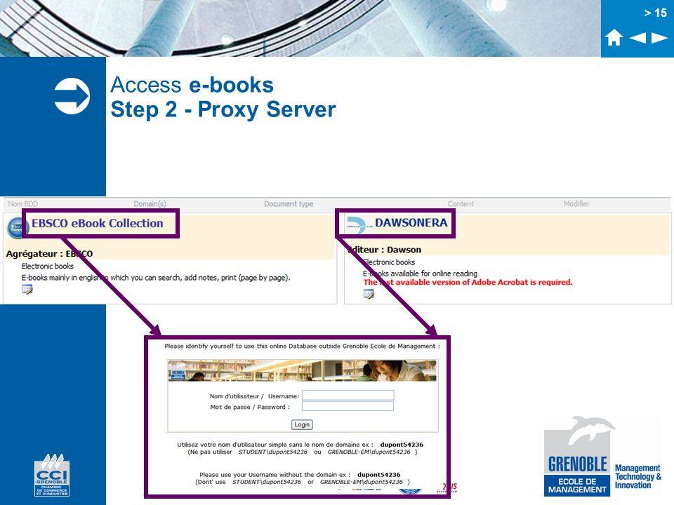 Access e-books Step 2 - Proxy Server