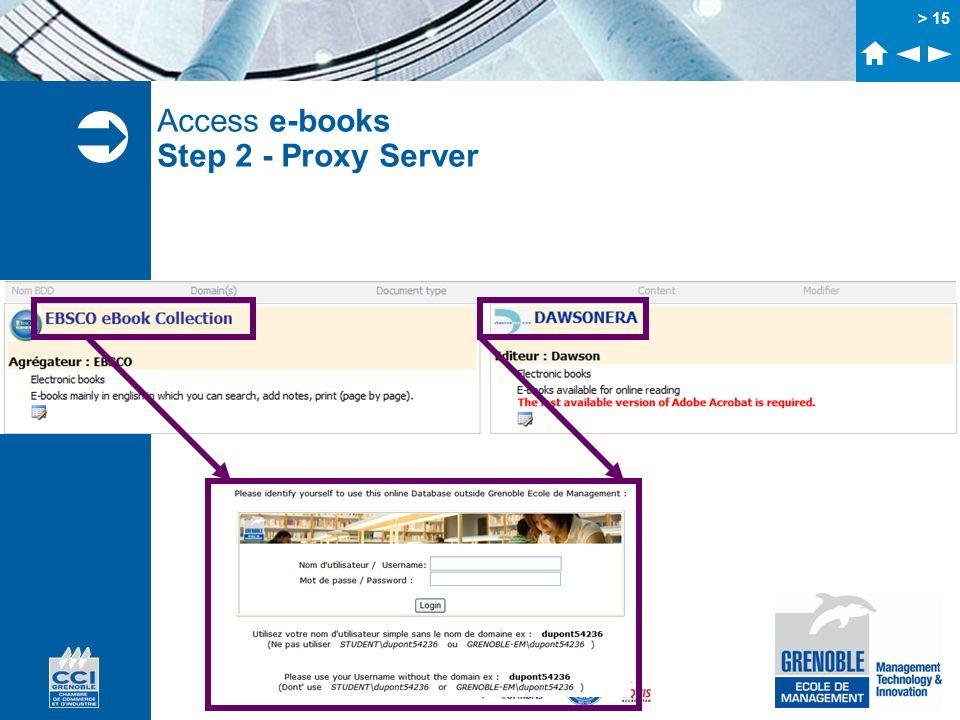 Access e-books Step 2 - Proxy Server