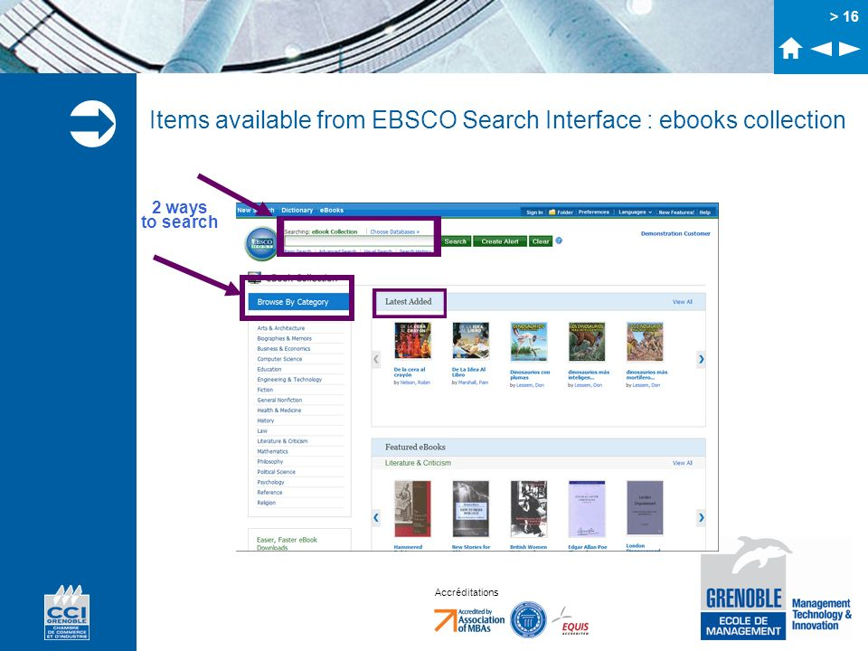 Items available from EBSCO Search Interface : ebooks collection