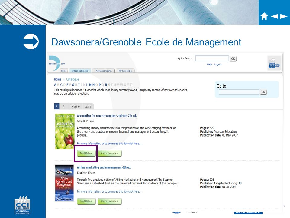 Dawsonera/Grenoble Ecole de Management