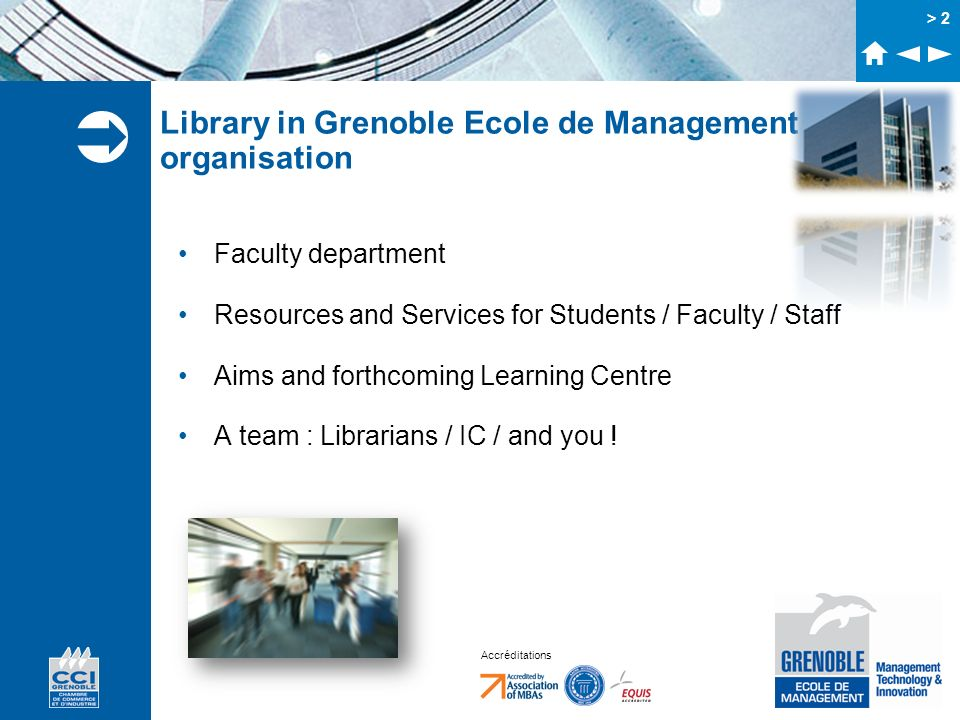 Library in Grenoble Ecole de Management organisation
