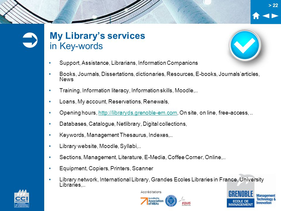 My Library's services in Key-words