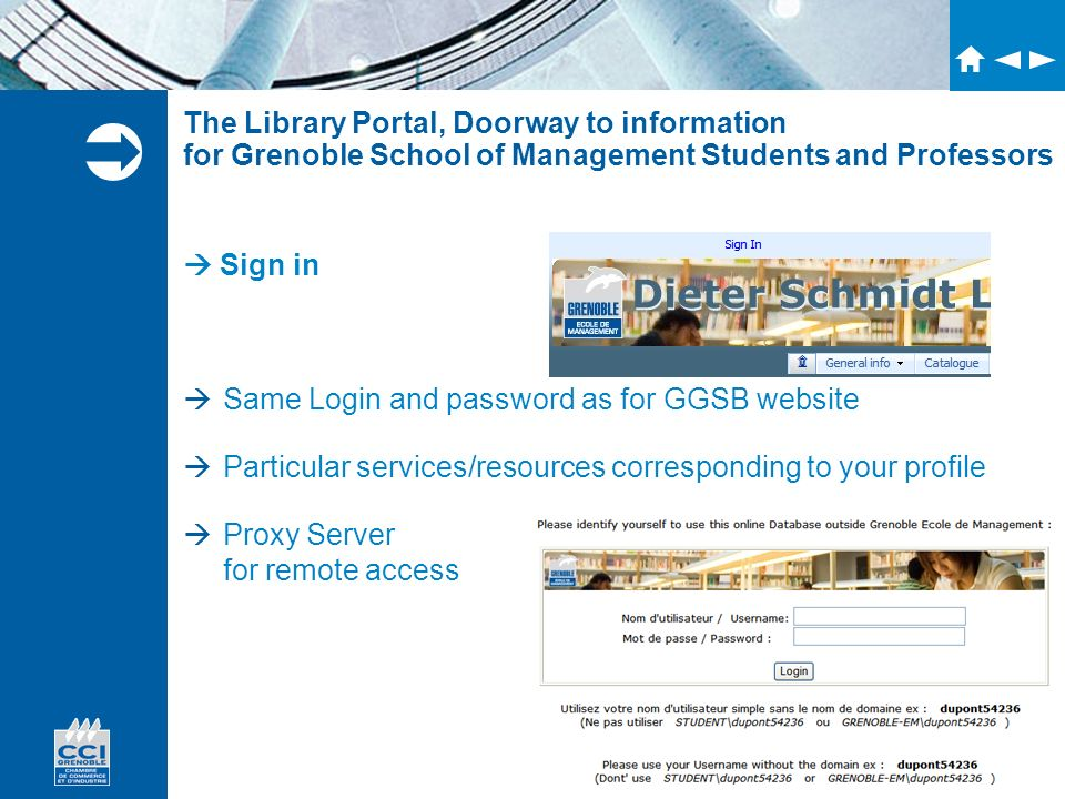 The Library Portal, Doorway to information for Grenoble School of Management Students and Professors