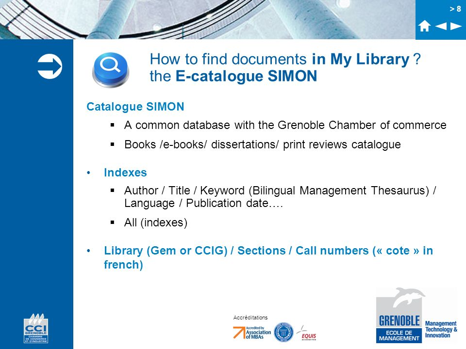 How to find documents in My Library the E-catalogue SIMON