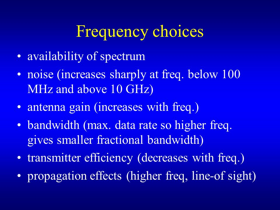 Frequency choices availability of spectrum