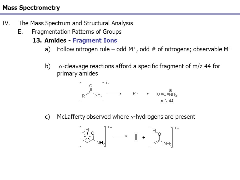 Mass Spectrometry The Mass Spectrum and Structural Analysis. Fragmentation Patterns of Groups. Amides - Fragment Ions.