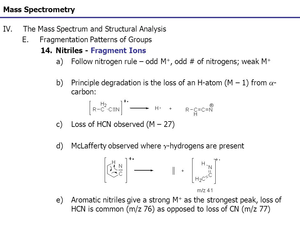Mass Spectrometry The Mass Spectrum and Structural Analysis. Fragmentation Patterns of Groups. Nitriles - Fragment Ions.