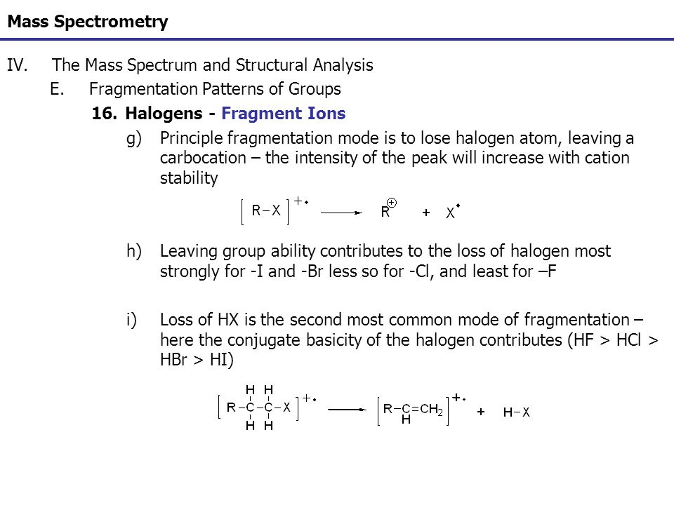 Mass Spectrometry The Mass Spectrum and Structural Analysis. Fragmentation Patterns of Groups. Halogens - Fragment Ions.