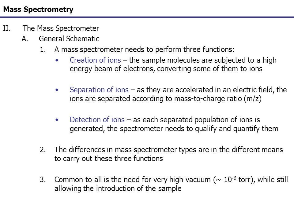 Mass Spectrometry The Mass Spectrometer. General Schematic. A mass spectrometer needs to perform three functions: