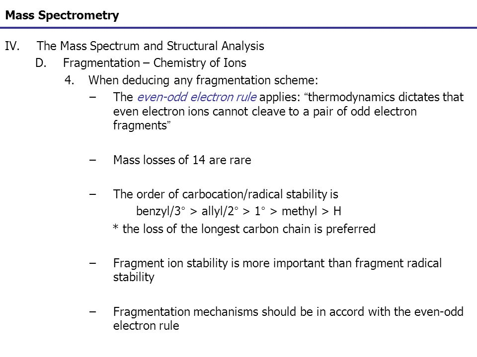 Mass Spectrometry The Mass Spectrum and Structural Analysis. Fragmentation – Chemistry of Ions. When deducing any fragmentation scheme: