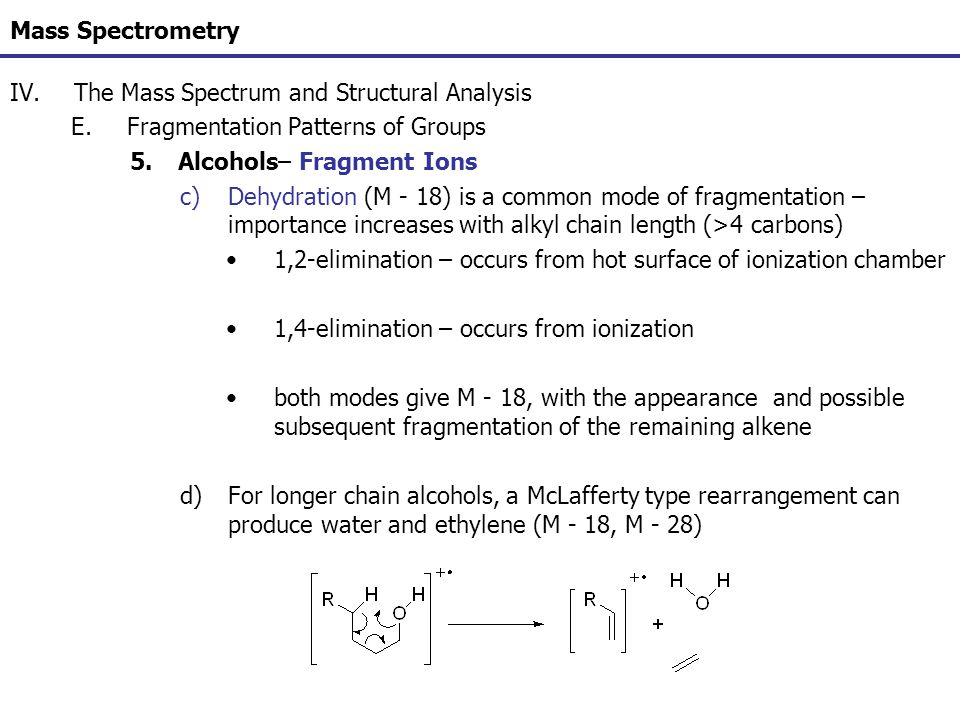 Mass Spectrometry The Mass Spectrum and Structural Analysis. Fragmentation Patterns of Groups. Alcohols– Fragment Ions.