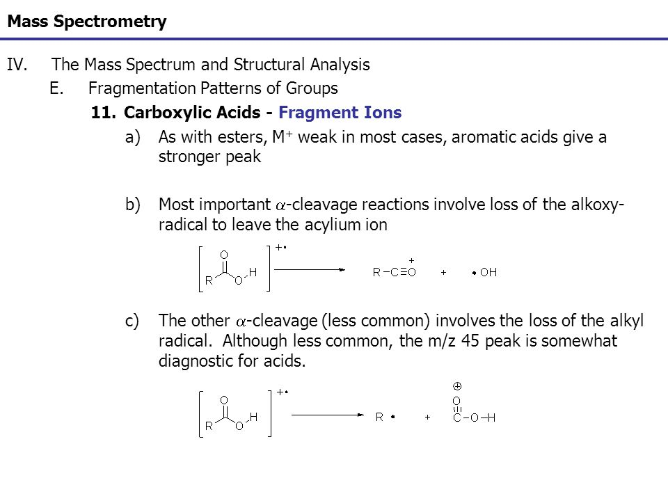 Mass Spectrometry The Mass Spectrum and Structural Analysis. Fragmentation Patterns of Groups. Carboxylic Acids - Fragment Ions.