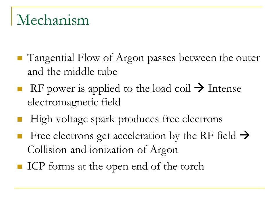 Mechanism Tangential Flow of Argon passes between the outer and the middle tube.