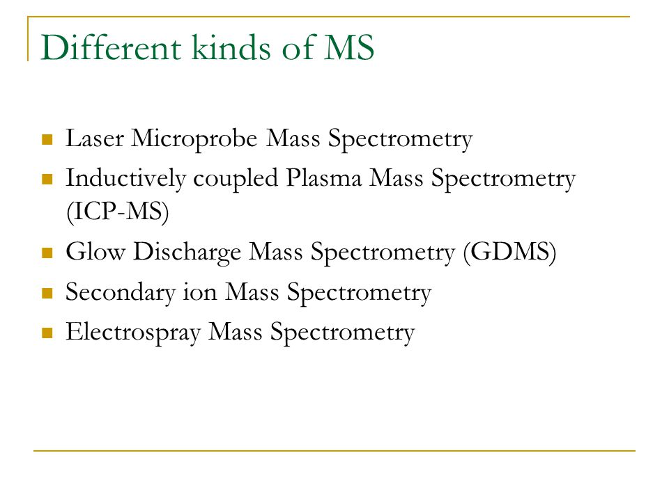 Different kinds of MS Laser Microprobe Mass Spectrometry