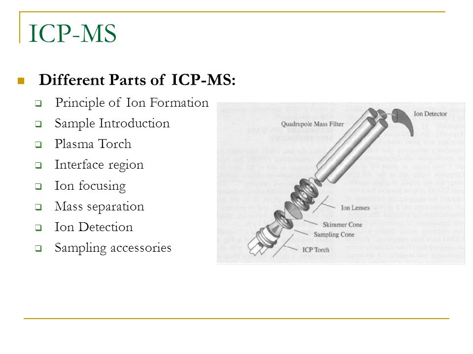 ICP-MS Different Parts of ICP-MS: Principle of Ion Formation
