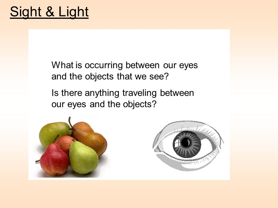 Sight & Light What is occurring between our eyes and the objects that we see Is there anything traveling between our eyes and the objects
