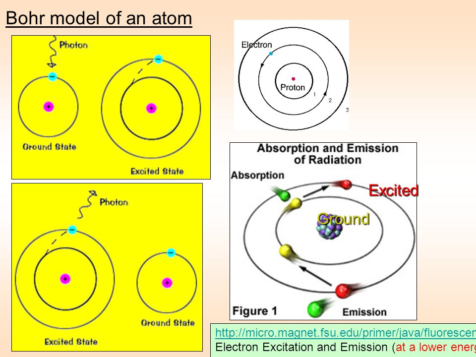 Bohr model of an atom Excited Ground