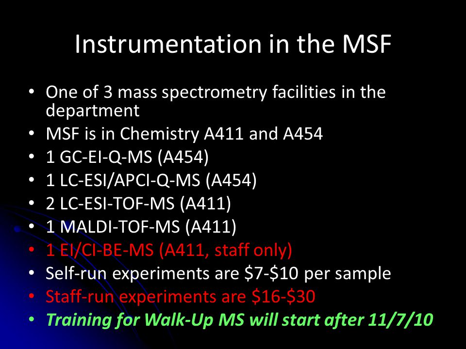 Instrumentation in the MSF