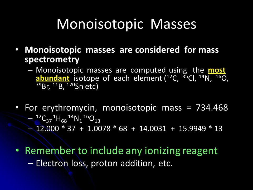 Monoisotopic Masses Remember to include any ionizing reagent