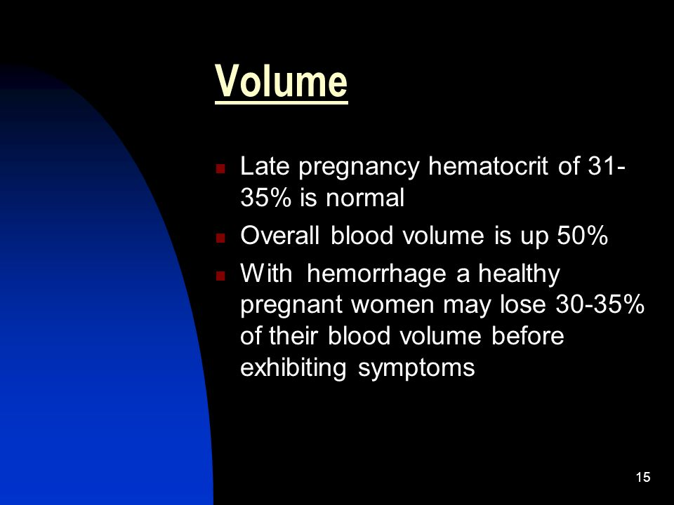 Volume Late pregnancy hematocrit of 31-35% is normal