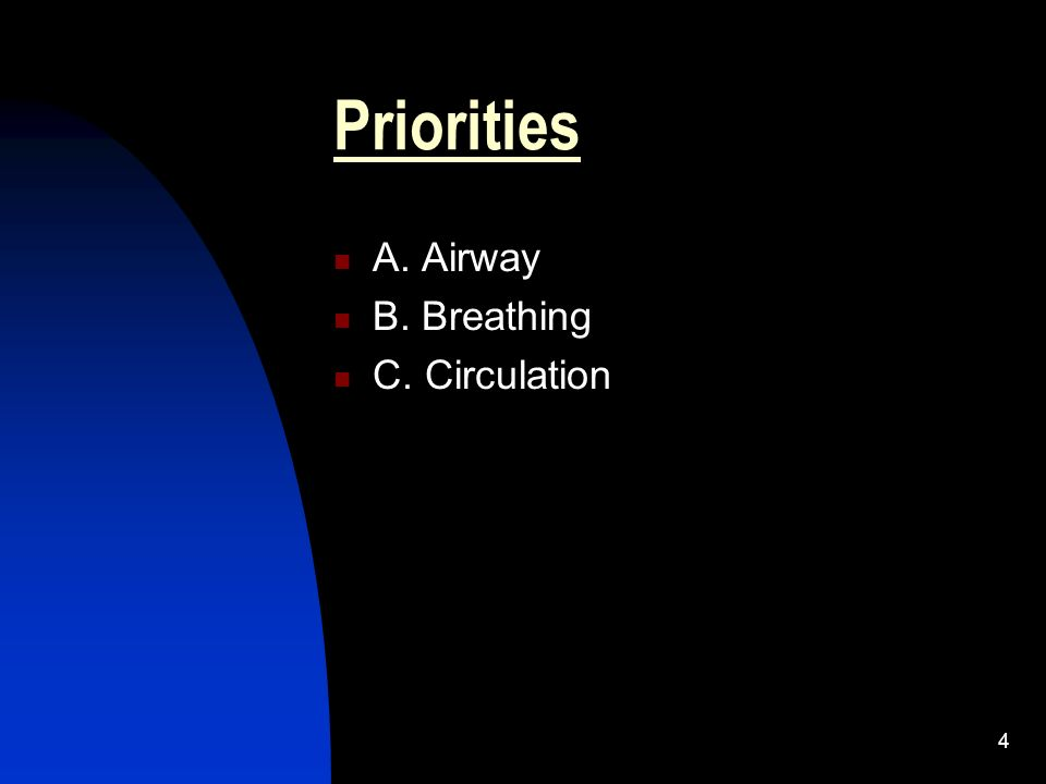 Priorities A. Airway B. Breathing C. Circulation