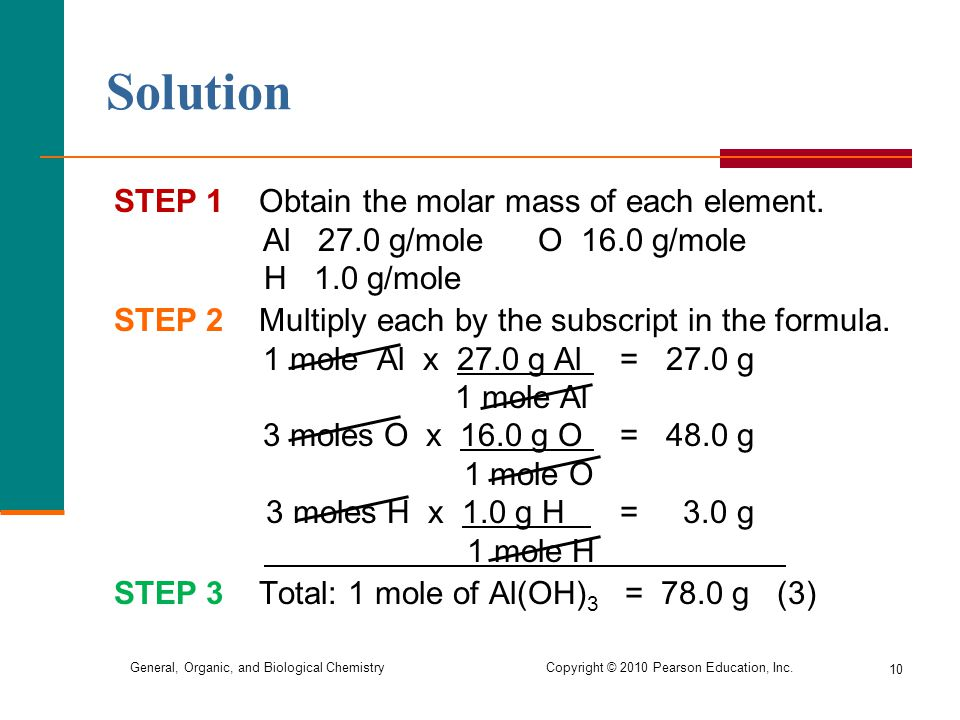Solution STEP 1 Obtain the molar mass of each element. Al 27.0 g/mole O 16.0 g/mole.