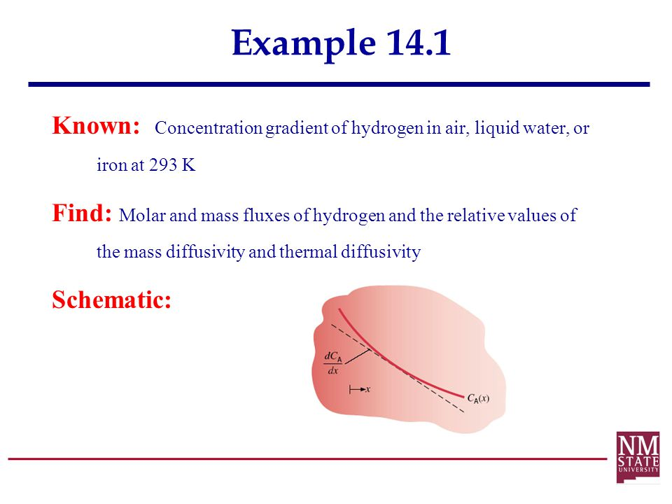 Example 14.1 Known: Concentration gradient of hydrogen in air, liquid water, or iron at 293 K.