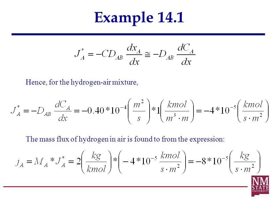 Example 14.1 Hence, for the hydrogen-air mixture,