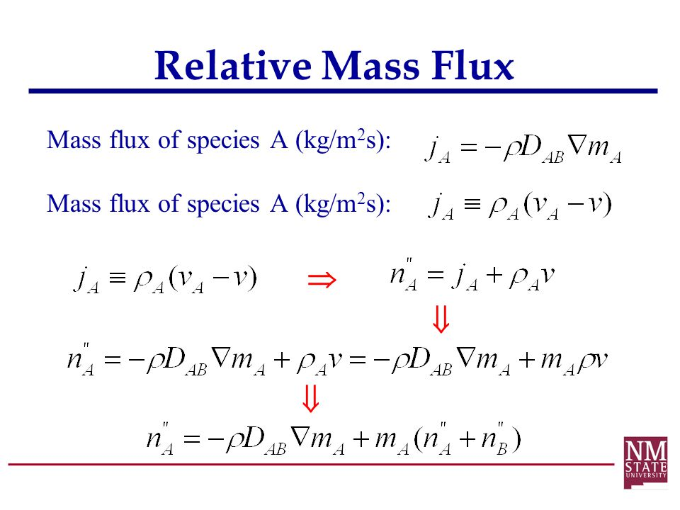 Relative Mass Flux Mass flux of species A (kg/m2s):   