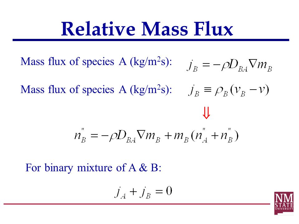 Relative Mass Flux  Mass flux of species A (kg/m2s):
