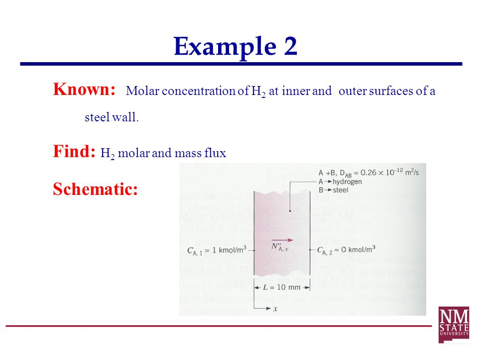 Example 2 Known: Molar concentration of H2 at inner and outer surfaces of a steel wall.