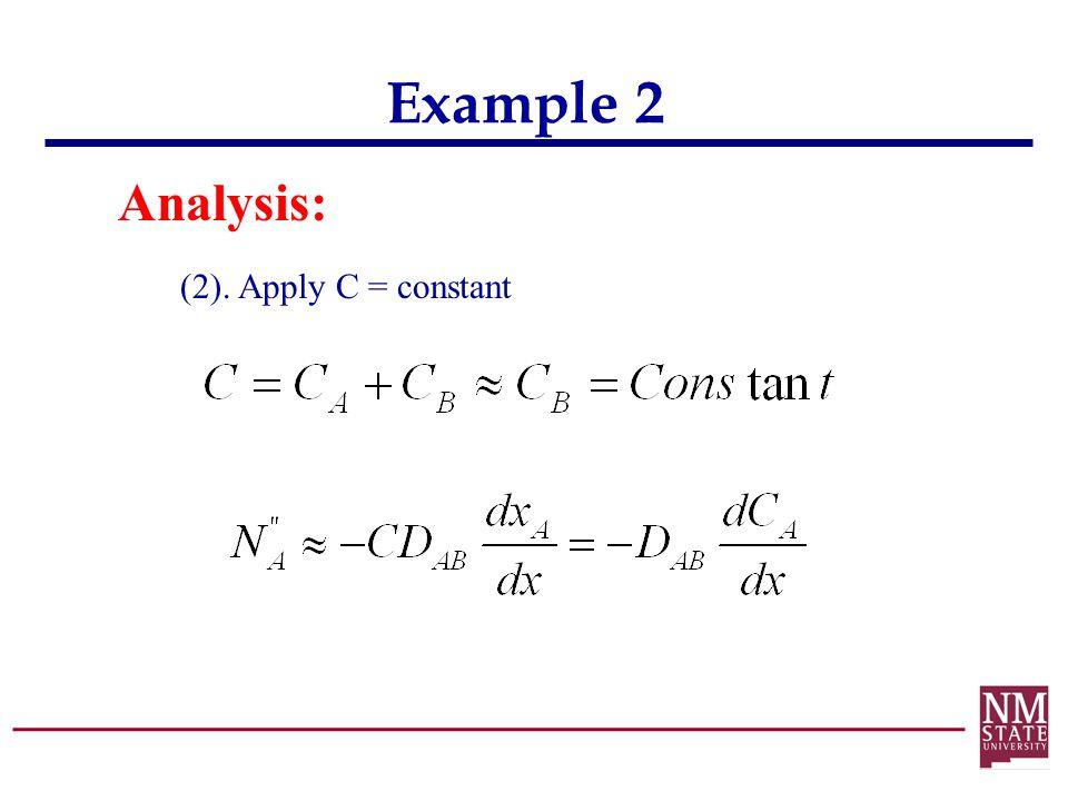 Example 2 Analysis: (2). Apply C = constant