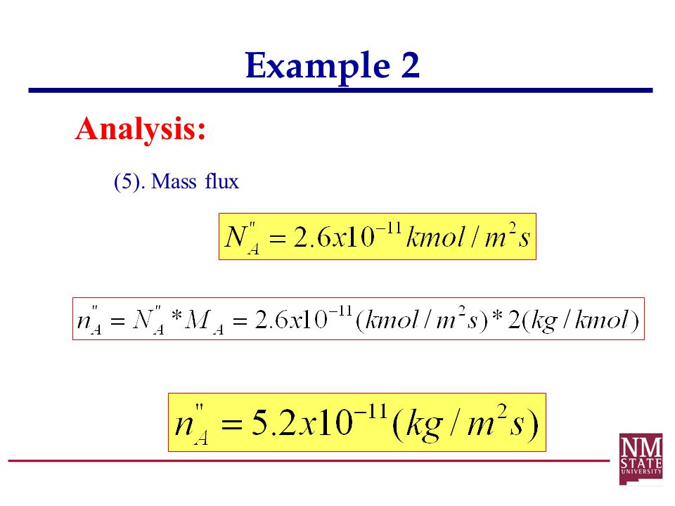 Example 2 Analysis: (5). Mass flux