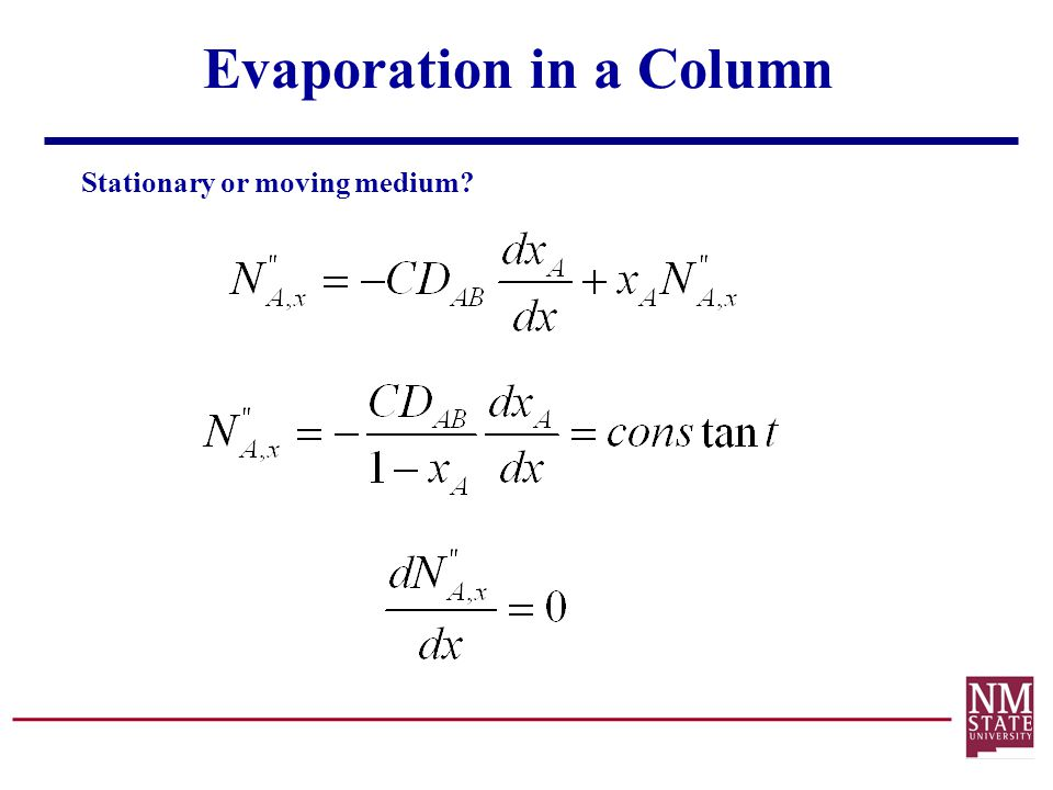 Evaporation in a Column