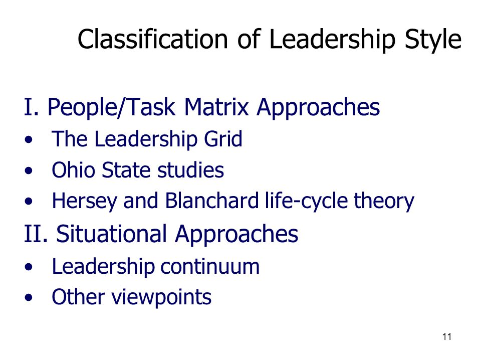Classification of Leadership Style