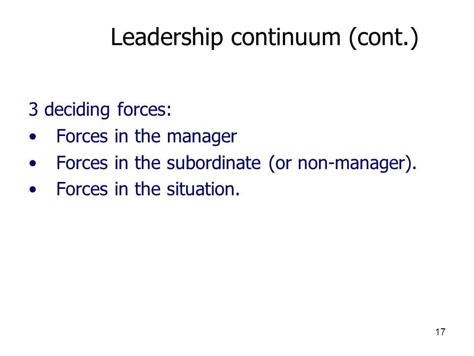 Leadership continuum (cont.)