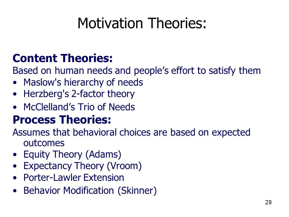 Motivation Theories: Content Theories: Process Theories: