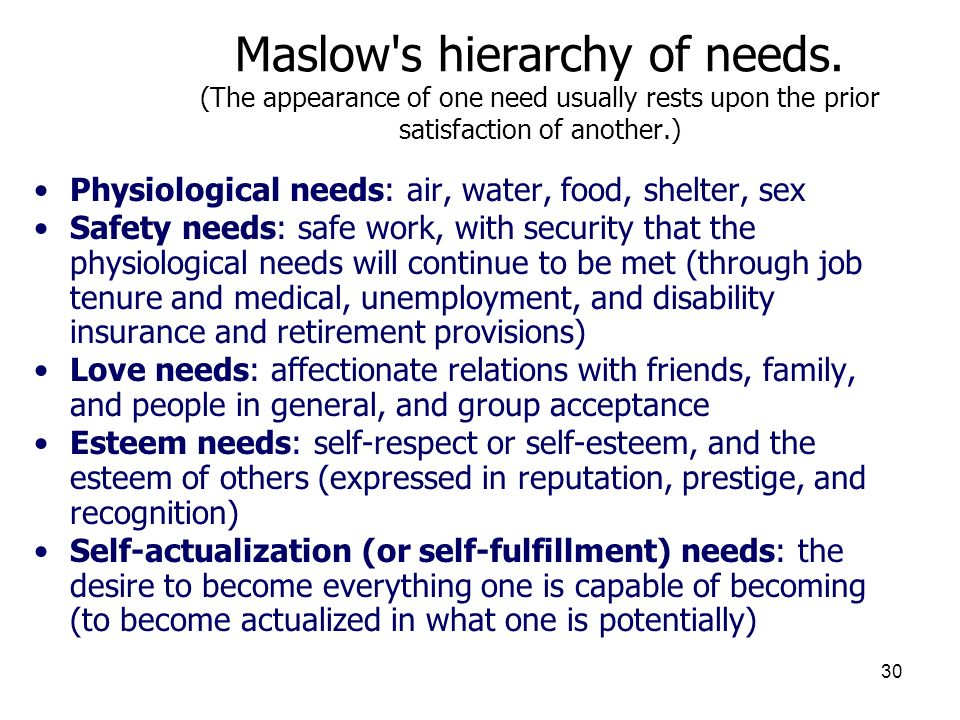 3/25/2017 Maslow s hierarchy of needs. (The appearance of one need usually rests upon the prior satisfaction of another.)