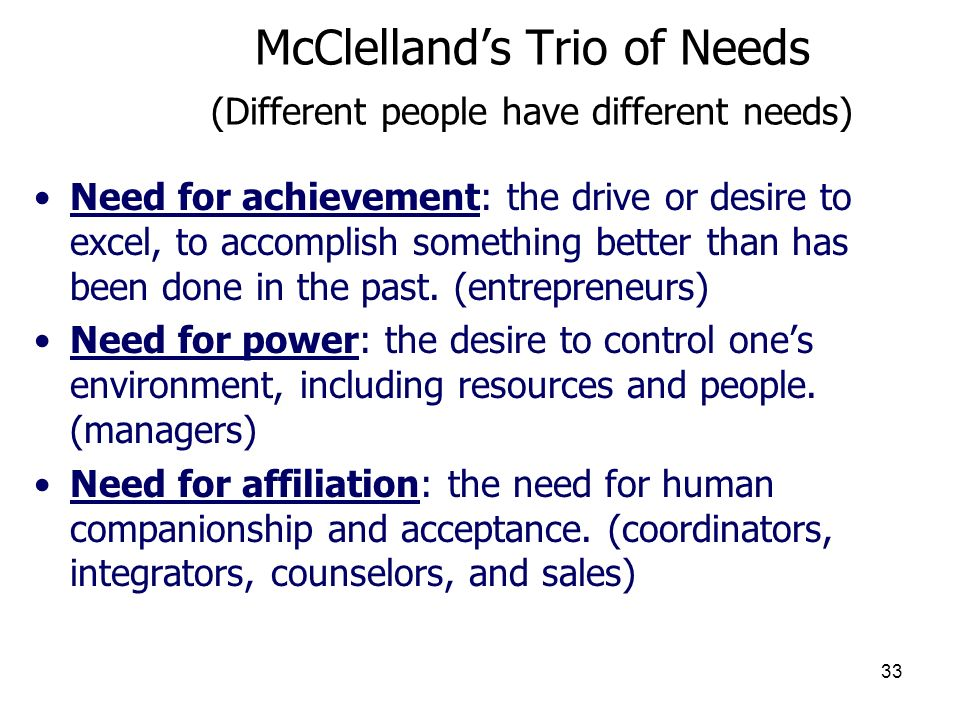 McClelland's Trio of Needs (Different people have different needs)