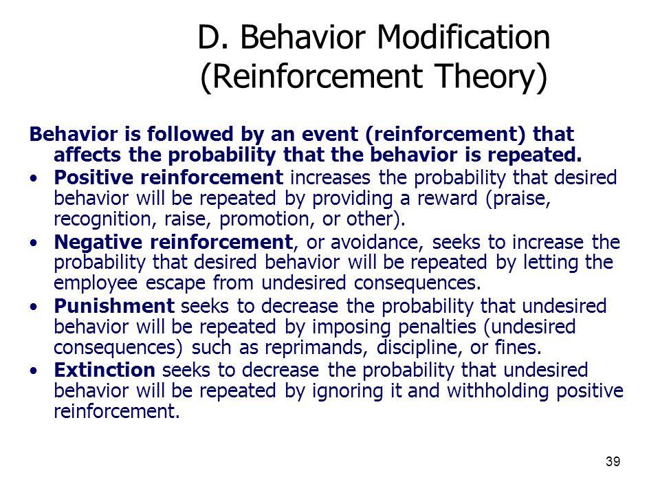 D. Behavior Modification (Reinforcement Theory)