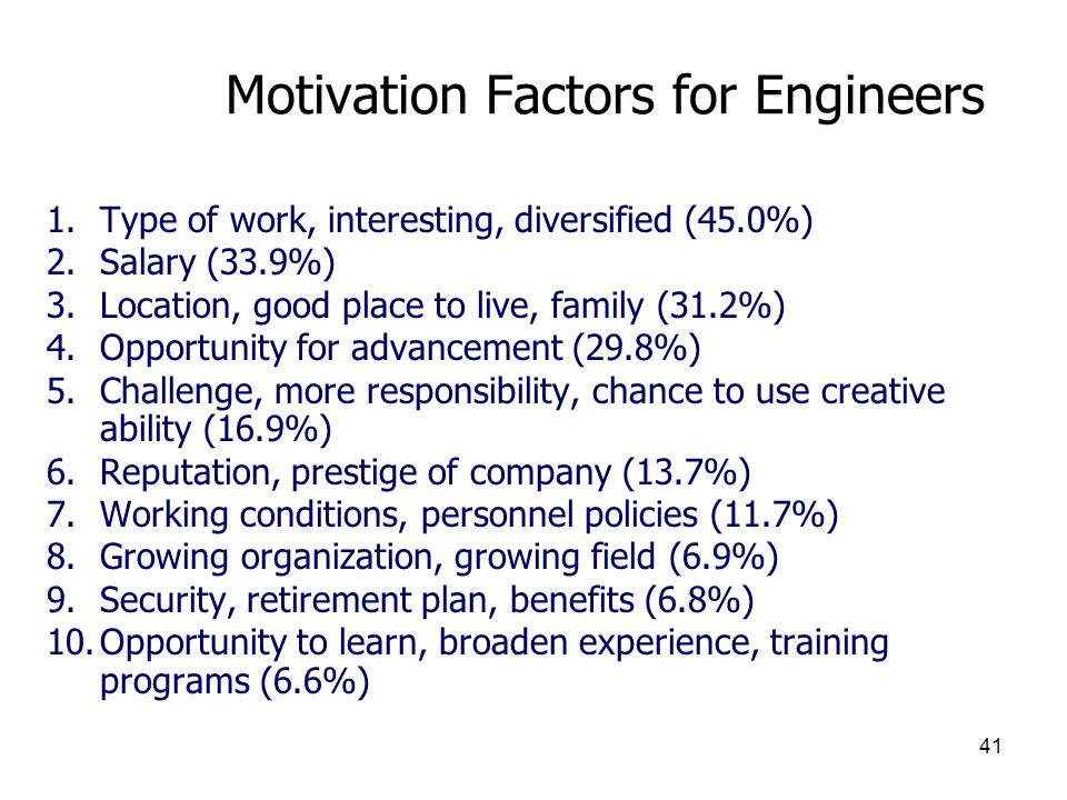Motivation Factors for Engineers