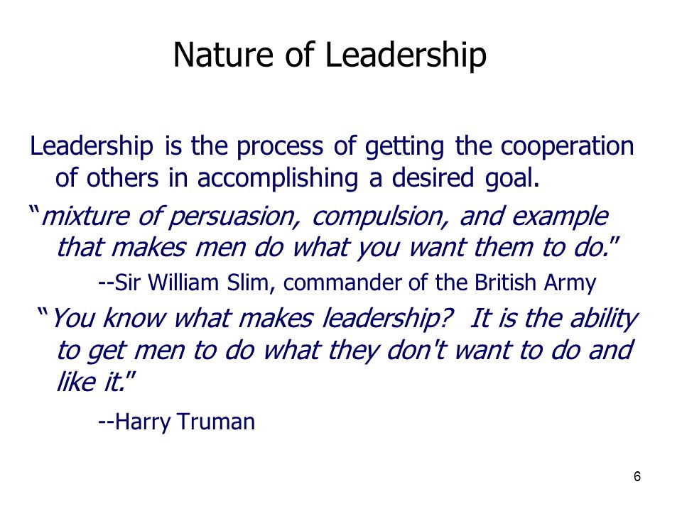 3/25/2017 Nature of Leadership. Leadership is the process of getting the cooperation of others in accomplishing a desired goal.