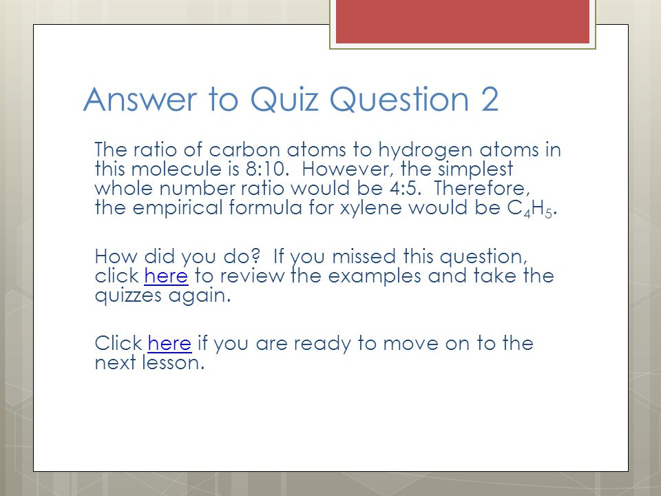 Answer to Quiz Question 2