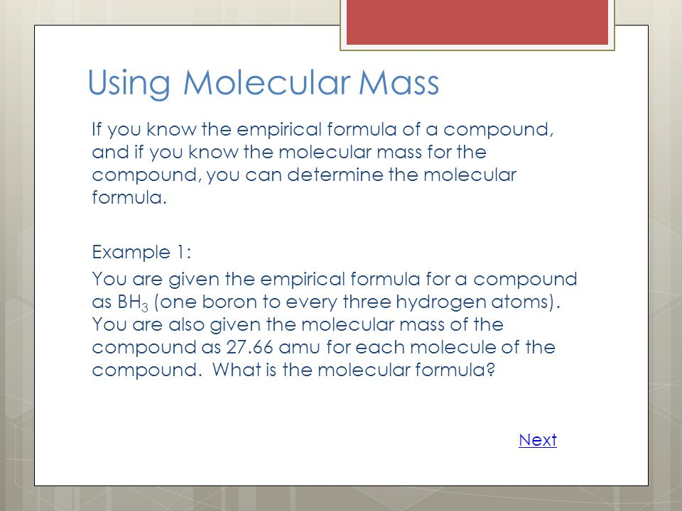 Using Molecular Mass