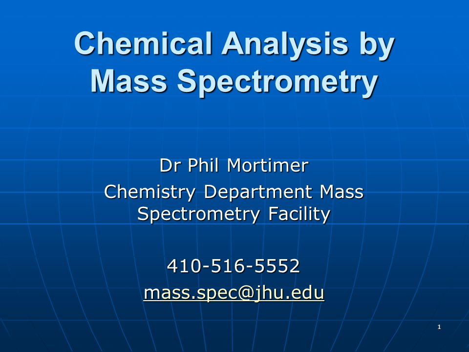 Chemical Analysis by Mass Spectrometry