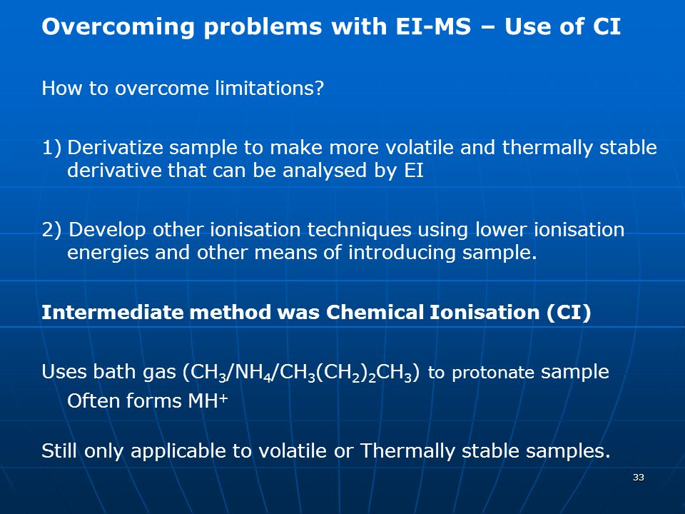 Overcoming problems with EI-MS – Use of CI
