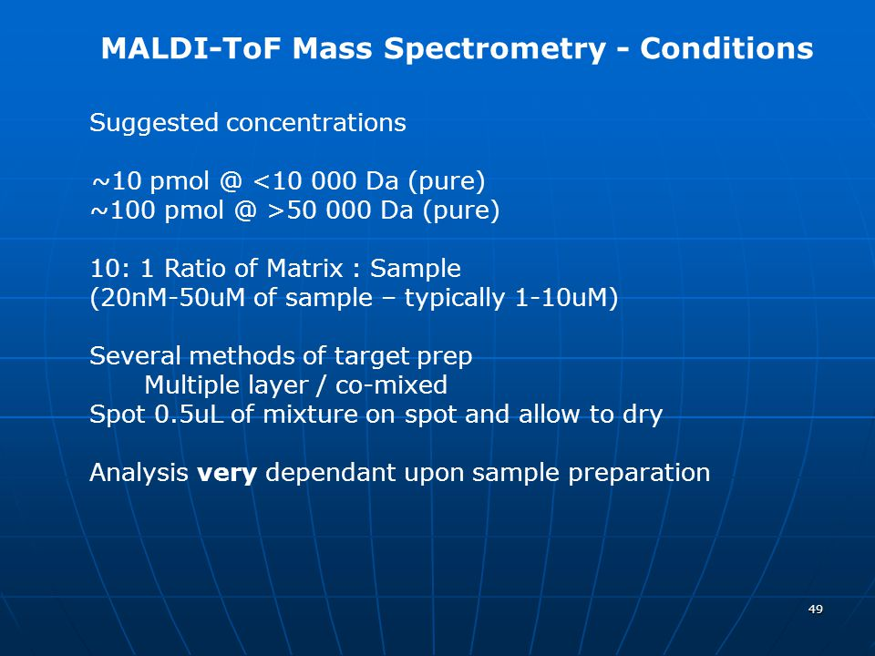 MALDI-ToF Mass Spectrometry - Conditions